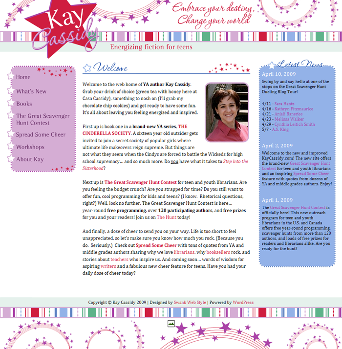 Website Design for YA Author Kay Cassidy by Swank Web Design