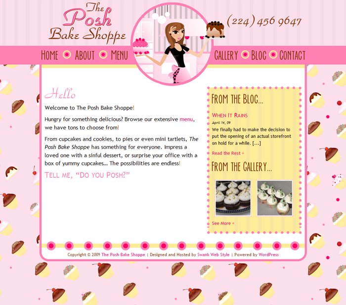 Website Design For Posh Bake Shoppe