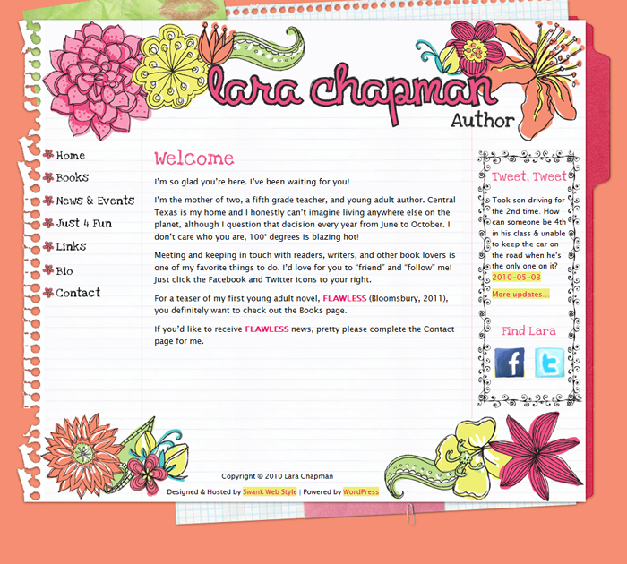 Website Design Author Lara Chapman by Swank Web Design