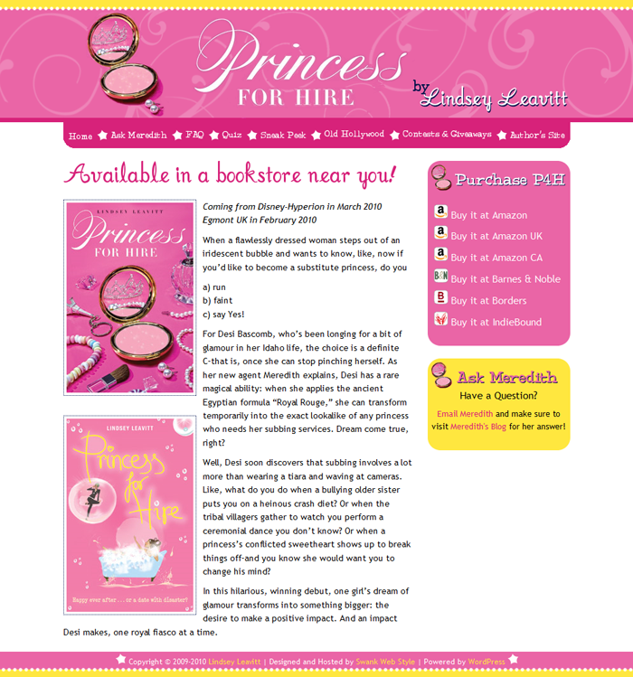 Website Design for Princess For Hire by Swank Web Design