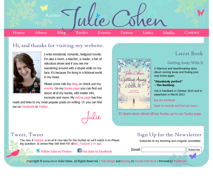 website design for author julie cohen
