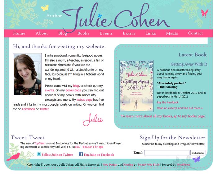 Website Design For Author Julie Cohen Swank Web Design
