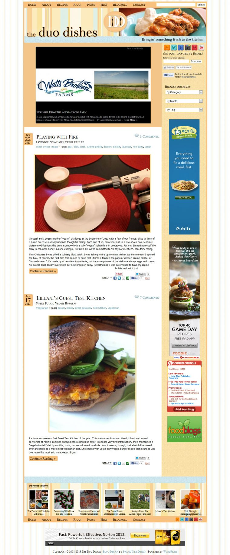 Blog Design for The Duo Dishes by Swank Web Design