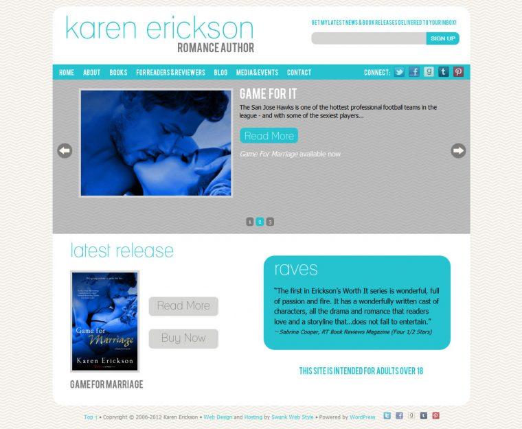 Website Design for Author Karen Erickson by Swank Web Design