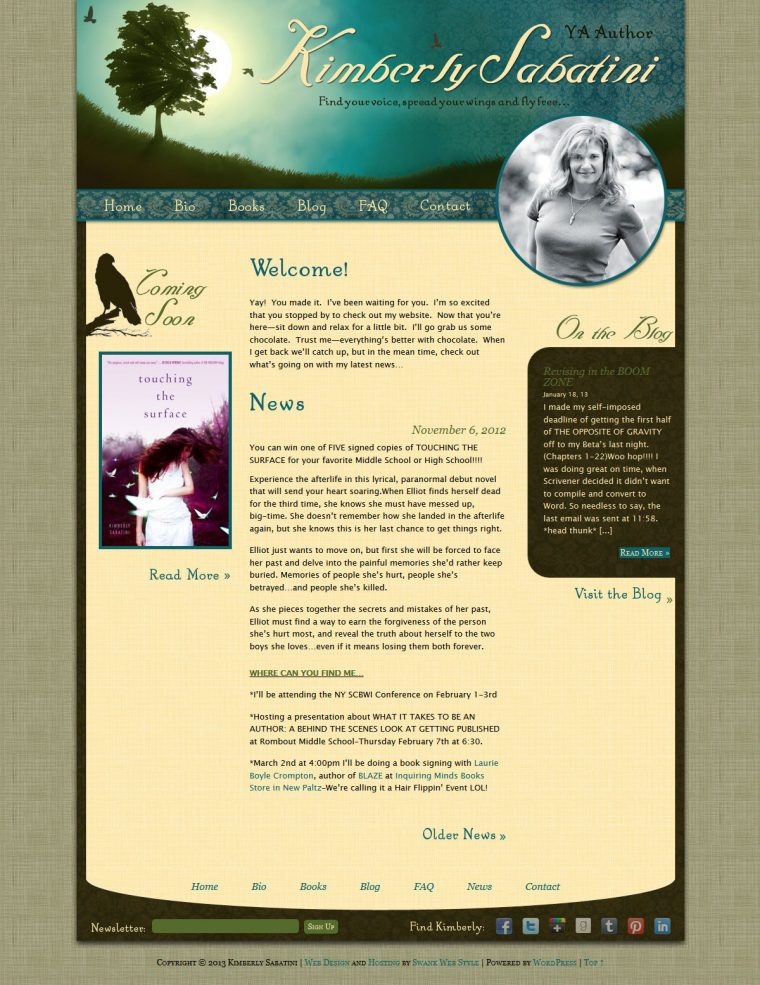 Website Design for Author Kimberly Sabatini by Swank Web Design