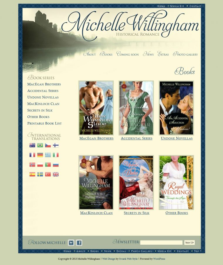 Website Design for Author Michelle Willingham by Swank Web Design