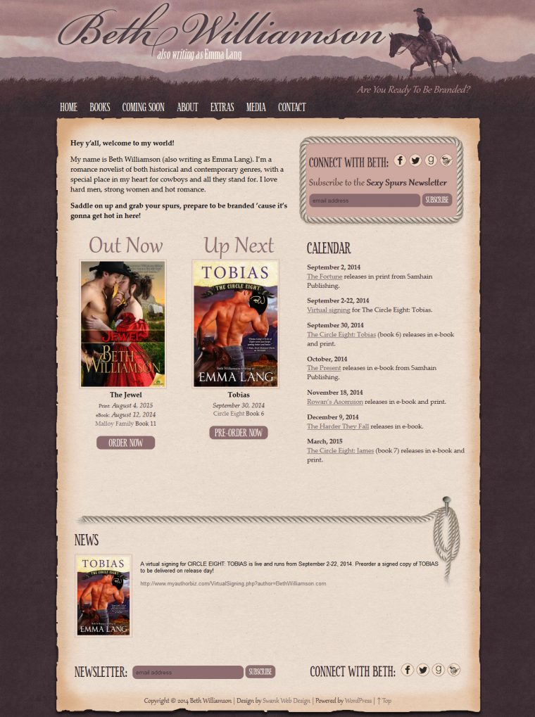 Website Design for Author Beth Williamson by Swank Web Design