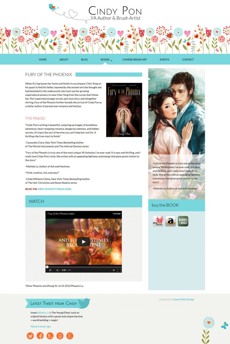 Website Design for YA Author Cindy Pon by Swank Web Design