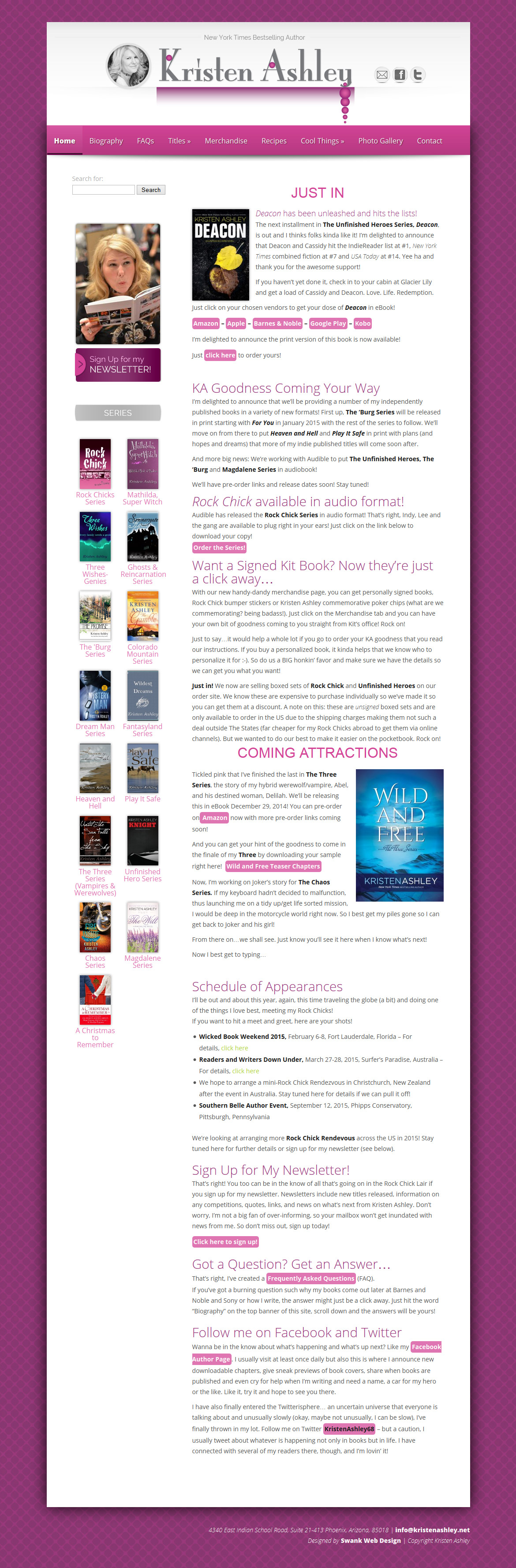 Web Design For Author Kristen Ashley Swank Web Design