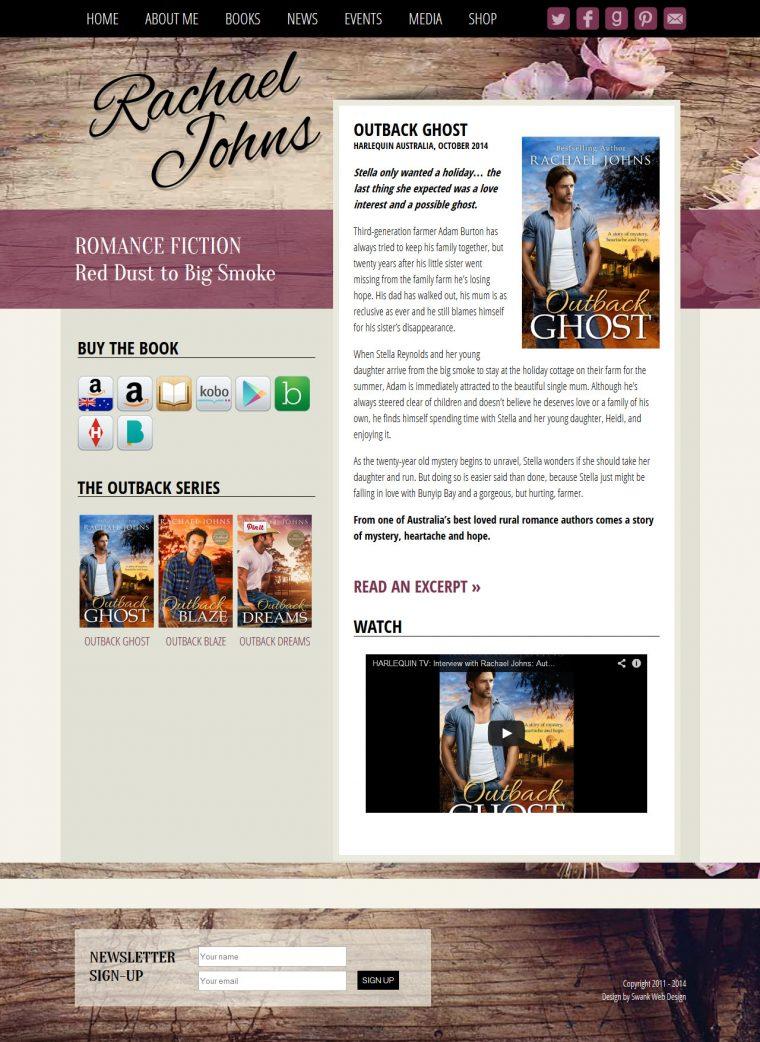 Website Design for Author Rachael Johns by Swank Web Design