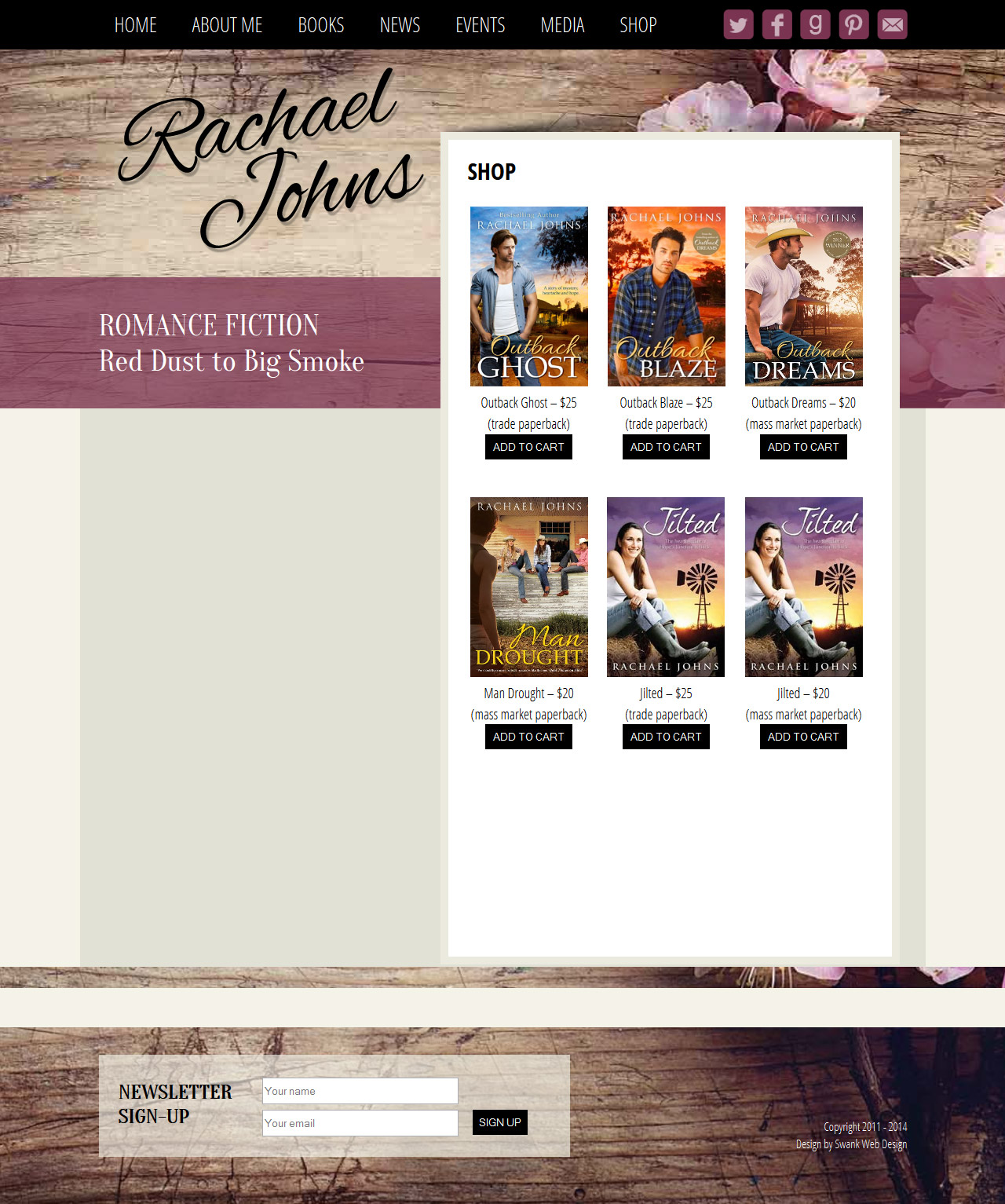 Website Design for Author Rachael Johns by Swank Web Design