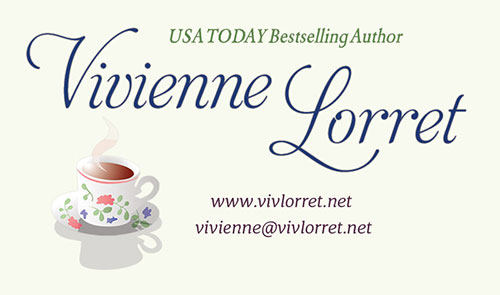 Business Card for Author Vivienne Lorret by Swank Web Design