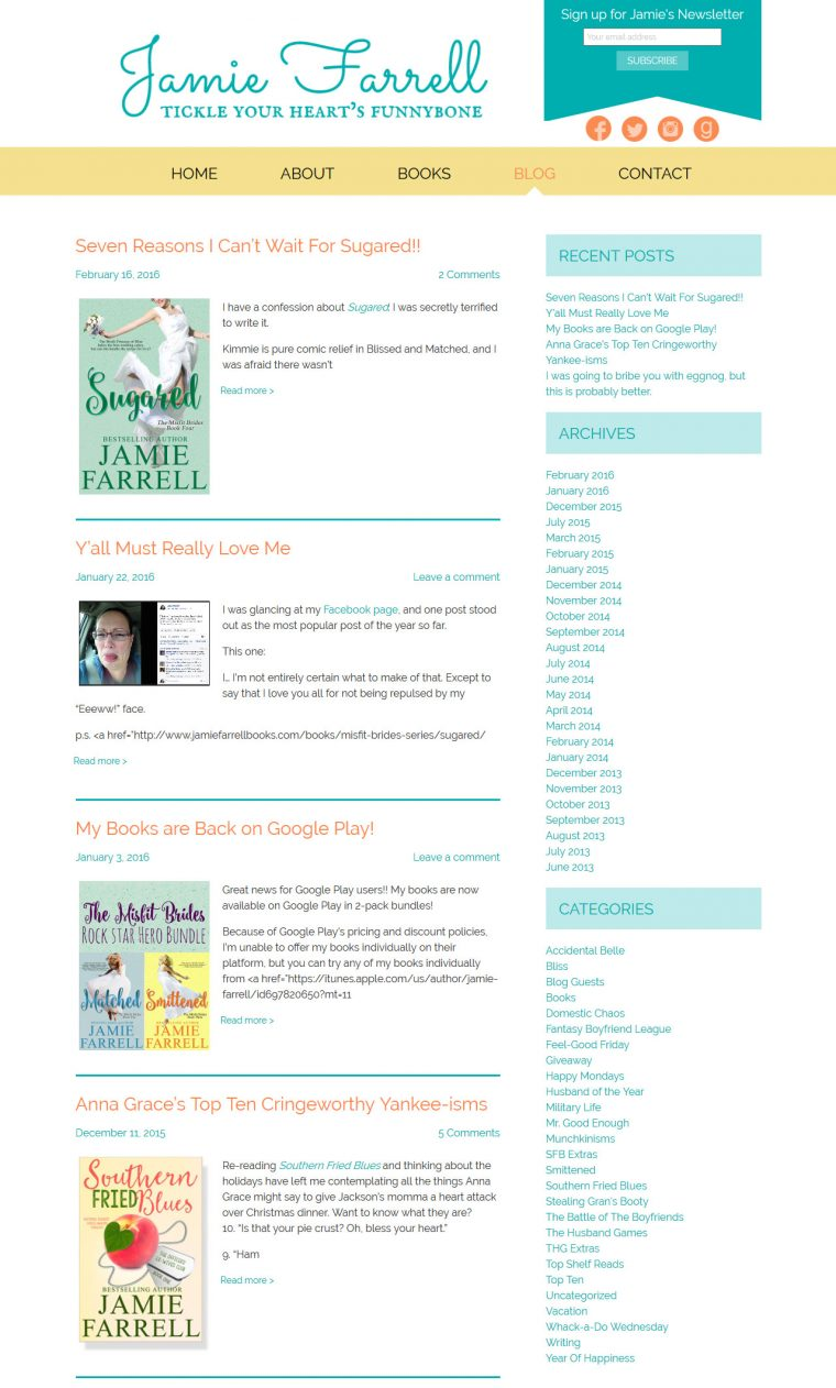 Website Design for Author Jamie Farrell by Swank Web Design