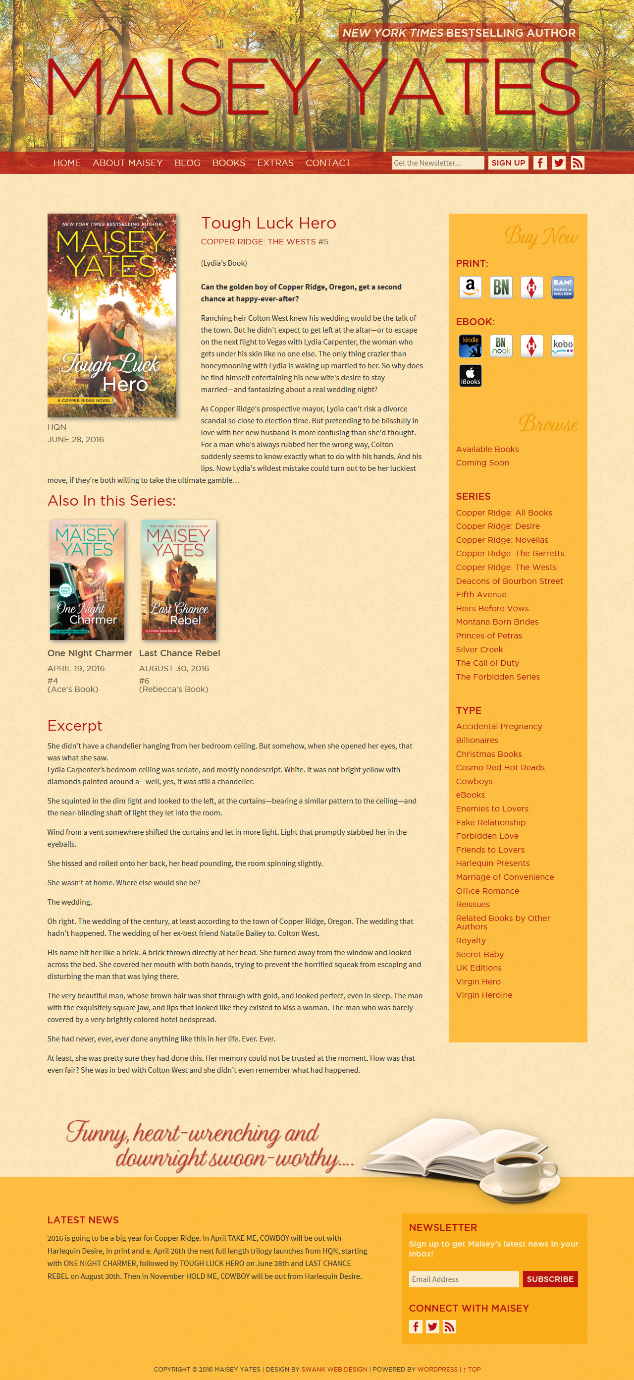 Website and Blog Design for Author Maisey Yates by Swank Web Design