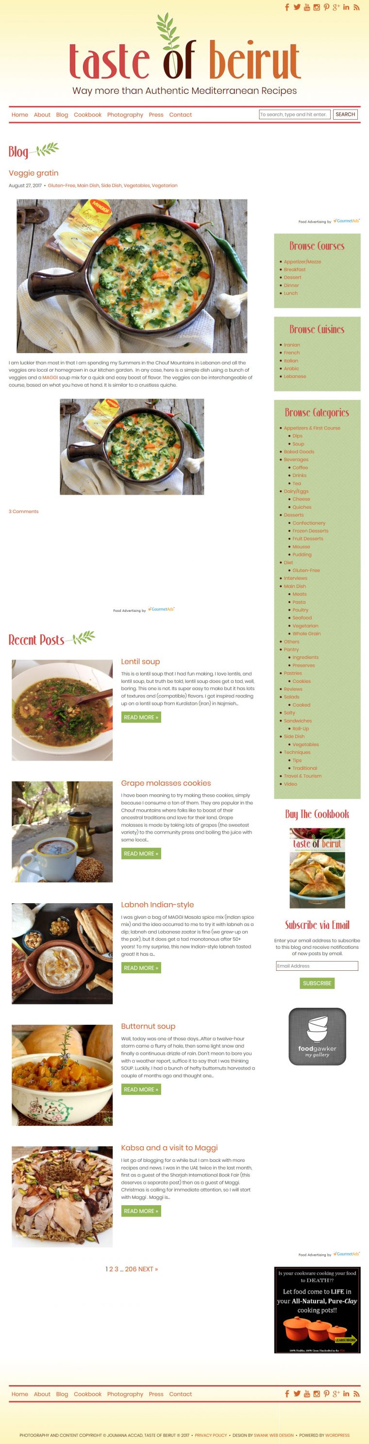 Website and Blog Design for Taste of Beirut by Swank Web Design