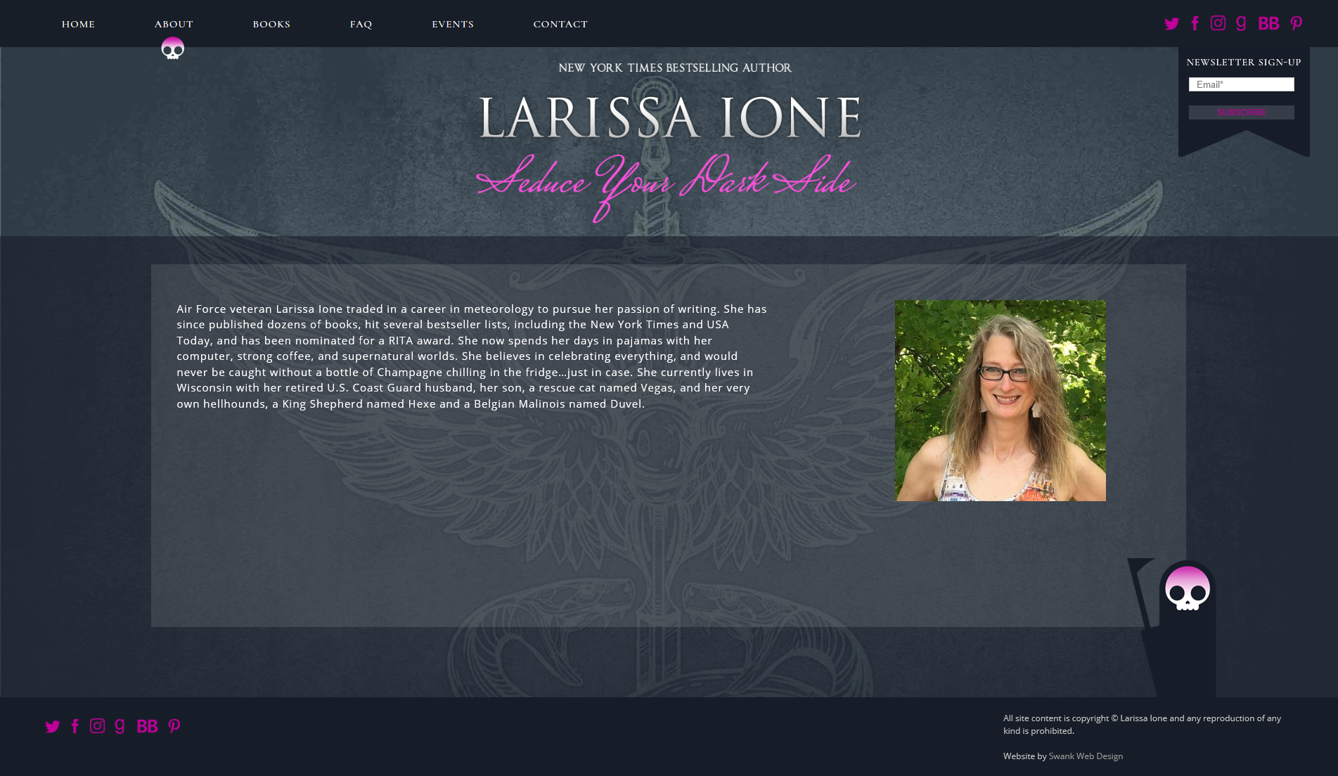 Website Design for Author Larissa Ione by Swank Web Design