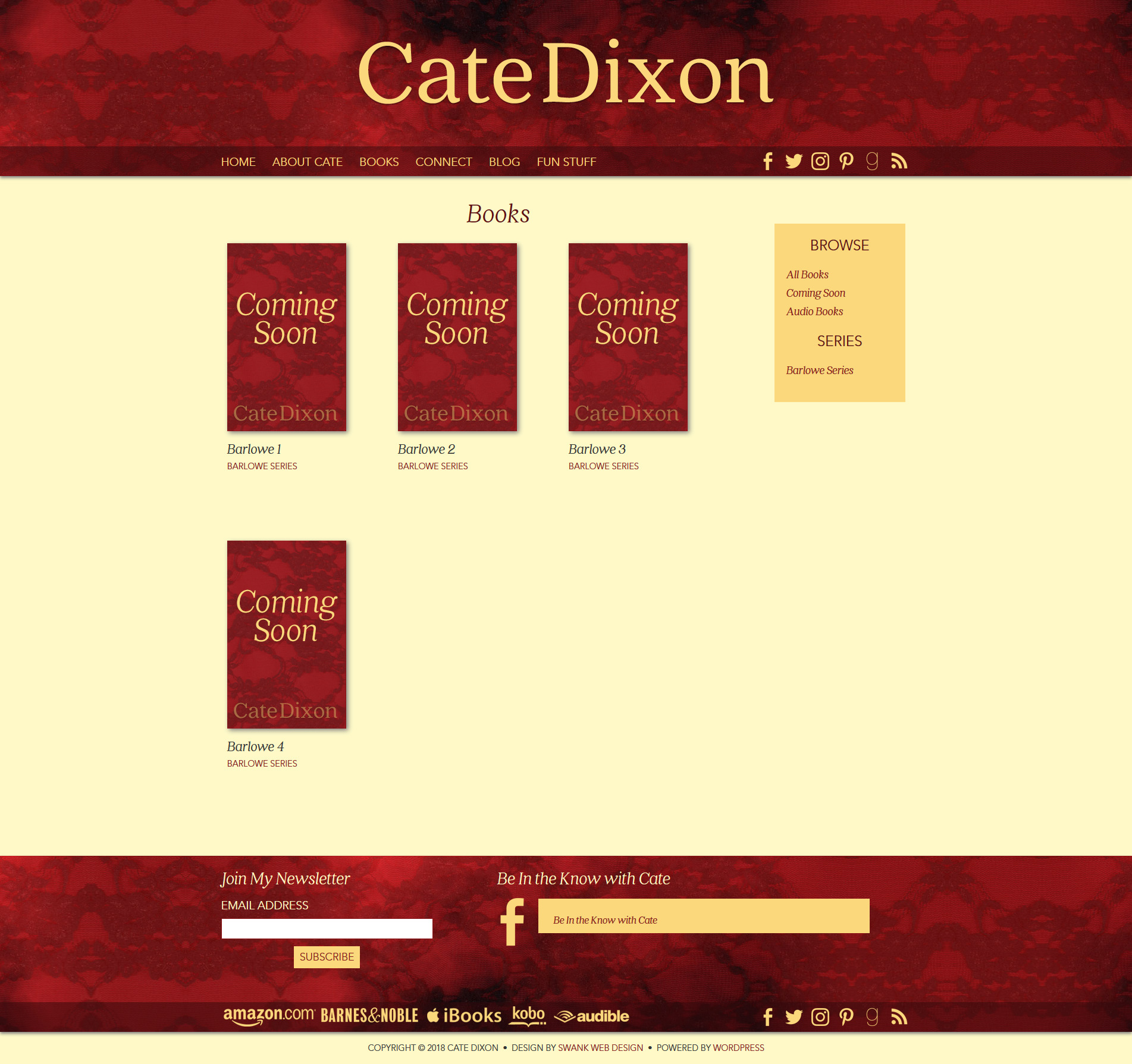 Website Design for Author Cate Dixon by Swank Web Design