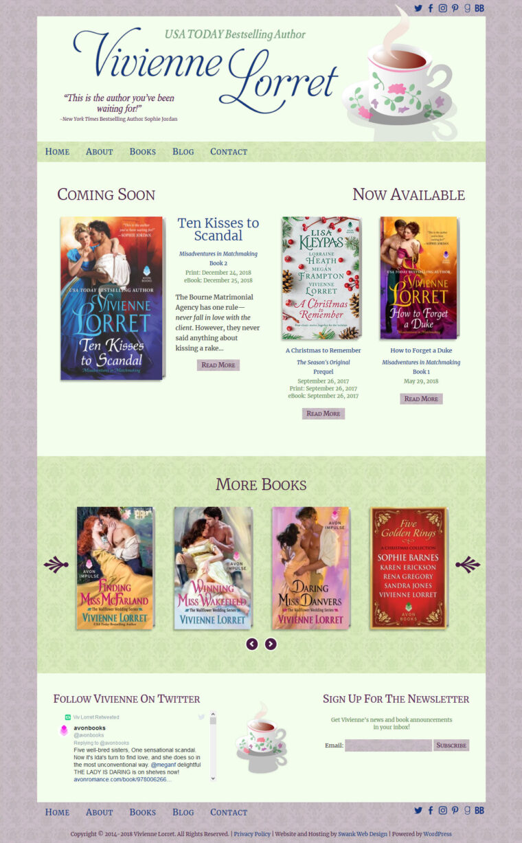 Website Design for Author Vivienne Lorret by Swank Web Design