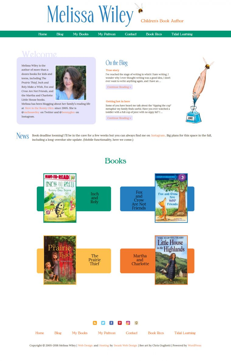 Website Design for Author Melissa Wiley by Swank Web Design