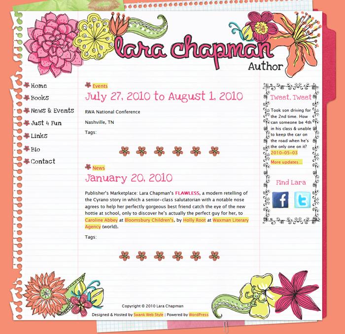 Website Design YA Author Lara Chapman by Swank Web Design