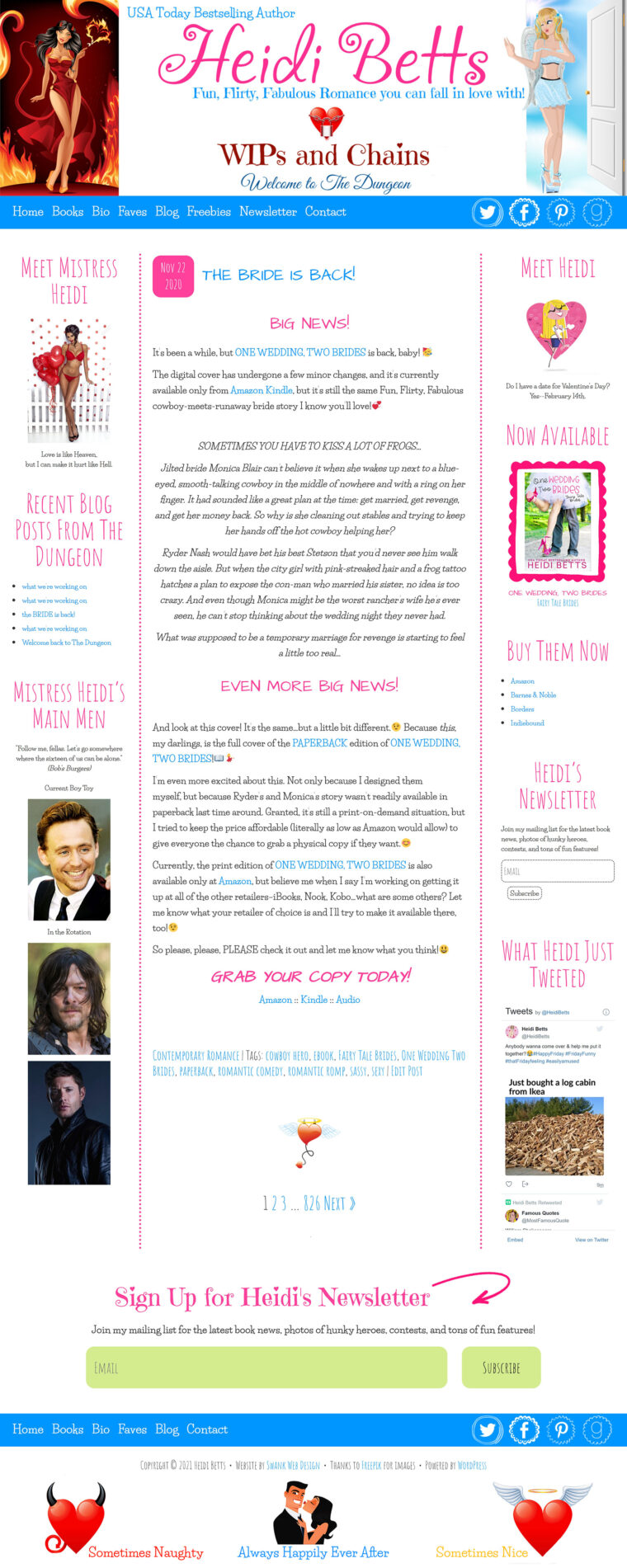Heidi Betts blog page design