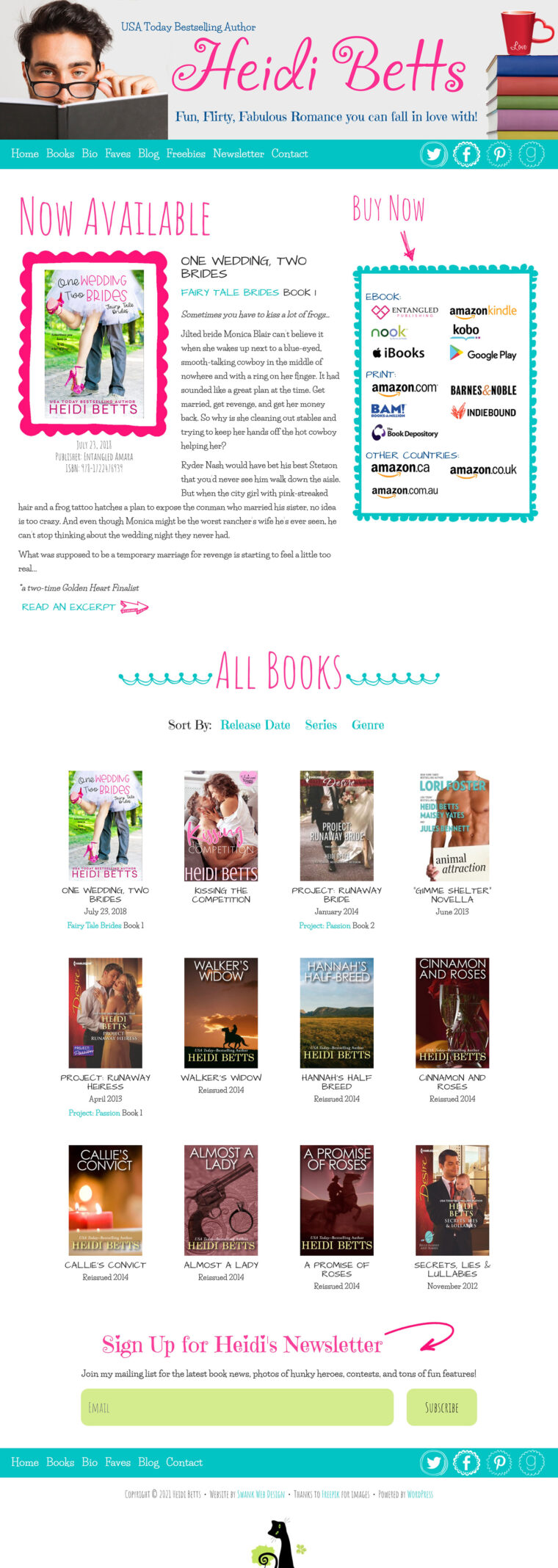 Heidi Betts books page design