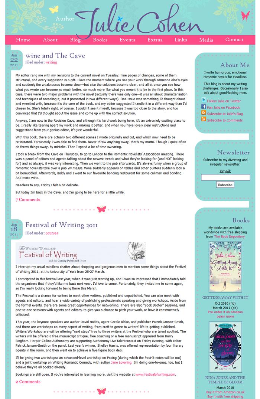 Website Design for Author Julie Cohen - Swank Web Design